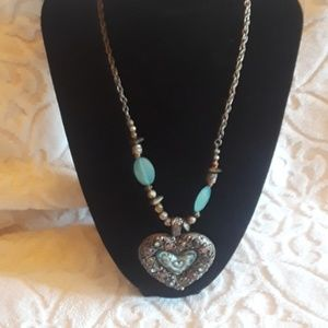 Jewelry - Silver Tone & Blue Large Heart Necklace